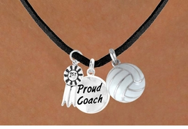 "<BR>           ""EXCLUSIVELY OURS""<bR>       AN ALLAN ROBIN DESIGN<Br>          LEAD & NICKEL FREE!!<Br>   W13909N - ""1ST"" RIBBON &<br>""PROUD COACH"" VOLLEYBALL<br>   NECKLACE AS LOW AS $5.30"