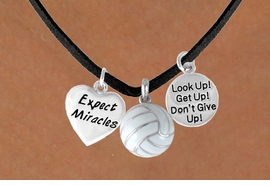 "<BR>           ""EXCLUSIVELY OURS""<bR>       AN ALLAN ROBIN DESIGN<Br>            LEAD & NICKEL FREE!!<Br> W13911N - ""EXPECT MIRACLES""<br>& ""DON'T GIVE UP"" VOLLEYBALL<br>     NECKLACE AS LOW AS $5.30"