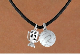 "<BR>     ""EXCLUSIVELY OURS""<bR> AN ALLAN ROBIN DESIGN<Br>      LEAD & NICKEL FREE!!<Br>W13912N - ""#1"" TROPHY &<br>   VOLLEYBALL NECKLACE<br>           AS LOW AS $4.50"