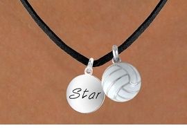 "<BR>      ""EXCLUSIVELY OURS""<bR>  AN ALLAN ROBIN DESIGN<Br>      LEAD & NICKEL FREE!!<Br>W13922N - ""STAR"" DISC &<br>   VOLLEYBALL NECKLACE<br>           AS LOW AS $4.50"