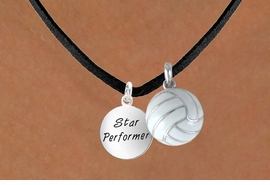 "<BR>       ""EXCLUSIVELY OURS""<bR>    AN ALLAN ROBIN DESIGN<Br>         LEAD & NICKEL FREE!!<Br>W13925N - STAR PERFORMER<br>    & VOLLEYBALL NECKLACE<BR>             AS LOW AS $4.50"