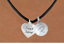 "<BR>              ""EXCLUSIVELY OURS""<bR>          AN ALLAN ROBIN DESIGN<Br>             LEAD & NICKEL FREE!!<Br>W13929N - ""TRUST JESUS"" HEART<br>        & VOLLEYBALL NECKLACE<br>                  AS LOW AS $4.50"