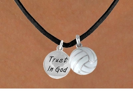"<BR>      ""EXCLUSIVELY OURS""<bR>  AN ALLAN ROBIN DESIGN<Br>      LEAD & NICKEL FREE!!<Br>W13930N - ""TRUST IN GOD""<br>  & VOLLEYBALL NECKLACE<br>           AS LOW AS $4.50"