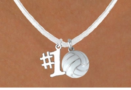 "<BR>            ""EXCLUSIVELY OURS""<bR>        AN ALLAN ROBIN DESIGN<Br>             LEAD & NICKEL FREE!!<Br>W13933N - ""NUMBER 1"" RIBBON<br>              & WHITE VOLLEYBALL<br>      NECKLACE AS LOW AS $4.50"
