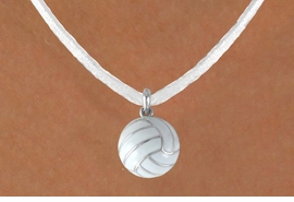 "<BR>          ""EXCLUSIVELY OURS""<bR>      AN ALLAN ROBIN DESIGN<Br>          LEAD & NICKEL FREE!!<Br>W13934N - VOLLEYBALL CHARM<br>    ON WHITE SUEDE NECKLACE<br>                AS LOW AS $4.15"