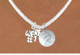 "<BR>              ""EXCLUSIVELY OURS""<bR>         AN ALLAN ROBIN DESIGN<Br>            LEAD & NICKEL FREE!!<Br>  W13935N - ""WE'RE #1"" CHARM<Br>& WHITE VOLLEYBALL NECKLACE<BR>                  AS LOW AS $4.50"