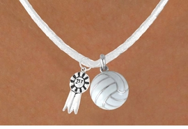 "<BR>      ""EXCLUSIVELY OURS""<bR>  AN ALLAN ROBIN DESIGN<Br>       LEAD & NICKEL FREE!!<Br>  W13936N - ""1ST"" RIBBON<br>       & WHITE VOLLEYBALL<br>NECKLACE AS LOW AS $4.50"