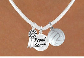 "<BR>        ""EXCLUSIVELY OURS""<bR>    AN ALLAN ROBIN DESIGN<Br>       LEAD & NICKEL FREE!!<Br>W13937N - ""1ST"" RIBBON &<br>    ""PROUD COACH"" WHITE<br>     VOLLEYBALL NECKLACE<bR>            AS LOW AS $5.30"