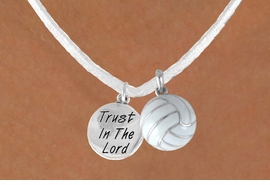 "<BR>            ""EXCLUSIVELY OURS""<bR>        AN ALLAN ROBIN DESIGN<Br>            LEAD & NICKEL FREE!!<Br>W13938N - ""TRUST IN THE LORD""<br>& WHITE VOLLEYBALL NECKLACE<br>                 AS LOW AS $4.50"
