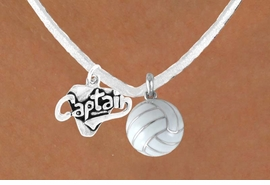 "<BR>            ""EXCLUSIVELY OURS""<bR>       AN ALLAN ROBIN DESIGN<Br>          LEAD & NICKEL FREE!!<Br>W13939N - ""CAPTAIN"" & WHITE<br>        VOLLEYBALL NECKLACE<br>               AS LOW AS $4.50"