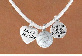 "<BR>            ""EXCLUSIVELY OURS""<bR>        AN ALLAN ROBIN DESIGN<Br>           LEAD & NICKEL FREE!!<Br>W13940N - ""EXPECT MIRACLES""<br>      & ""DON'T GIVE UP"" WHITE<br>        VOLLEYBALL NECKLACE<bR>                AS LOW AS $5.30"