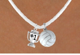"<BR>            ""EXCLUSIVELY OURS""<bR>        AN ALLAN ROBIN DESIGN<Br>          LEAD & NICKEL FREE!!<Br>    W13941N - ""#1"" TROPHY &<br>WHITE VOLLEYBALL NECKLACE<br>               AS LOW AS $4.50"
