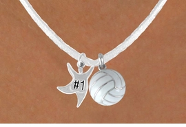 "<BR>         ""EXCLUSIVELY OURS""<bR>     AN ALLAN ROBIN DESIGN<Br>          LEAD & NICKEL FREE!!<Br> W13942N - ""#1"" STAR MAN &<br>WHITE VOLLEYBALL NECKLACE<br>               AS LOW AS $4.50"