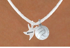 "<BR>            ""EXCLUSIVELY OURS""<bR>        AN ALLAN ROBIN DESIGN<Br>          LEAD & NICKEL FREE!!<Br> W13944N - ""WINNER"" MAN &<Br>WHITE VOLLEYBALL NECKLACE<BR>               AS LOW AS $4.50"