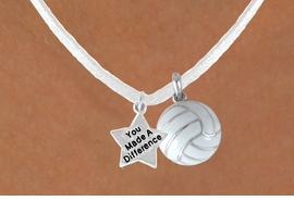 "<BR>                    ""EXCLUSIVELY OURS""<bR>                AN ALLAN ROBIN DESIGN<Br>                   LEAD & NICKEL FREE!!<Br>W13946N - ""YOU MADE A DIFFERENCE""<br>      & WHITE VOLLEYBALL NECKLACE<BR>                       AS LOW AS $4.50"
