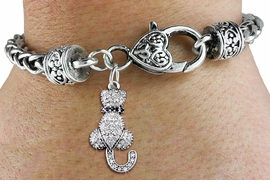 <bR>                    EXCLUSIVELY OURS!! <BR>                AN ALLAN ROBIN DESIGN!! <BR>                    LEAD & NICKEL FREE!! <BR> W1394SB - SILVER TONE AND JET CRYSTAL<BR>  SITTING CAT CHARM ON HEART SHAPED <BR>               LOBSTER CLASP BRACELET <Br>            FROM $5.63 TO $12.50 �2013