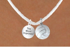 "<BR>               ""EXCLUSIVELY OURS""<bR>           AN ALLAN ROBIN DESIGN<Br>              LEAD & NICKEL FREE!!<Br>W13950N - ""THE MOST IMPROVED""<br>  & WHITE VOLLEYBALL NECKLACE<BR>                   AS LOW AS $4.50"