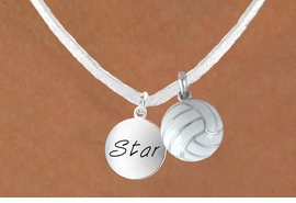 "<BR>            ""EXCLUSIVELY OURS""<bR>        AN ALLAN ROBIN DESIGN<Br>          LEAD & NICKEL FREE!!<Br>    W13952N - ""STAR"" DISC &<br>WHITE VOLLEYBALL NECKLACE<br>               AS LOW AS $4.50"
