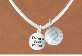 "<BR>            ""EXCLUSIVELY OURS""<bR>        AN ALLAN ROBIN DESIGN<Br>          LEAD & NICKEL FREE!!<Br>W13953N - ""SPIRIT ON FIRE"" &<br>WHITE VOLLEYBALL NECKLACE<br>              AS LOW AS $4.50"