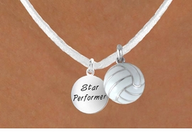 "<BR>            ""EXCLUSIVELY OURS""<bR>        AN ALLAN ROBIN DESIGN<Br>           LEAD & NICKEL FREE!!<Br>W13954N - STAR PERFORMER &<br> WHITE VOLLEYBALL NECKLACE<BR>                AS LOW AS $4.50"