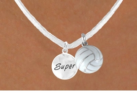 "<BR>            ""EXCLUSIVELY OURS""<bR>        AN ALLAN ROBIN DESIGN<Br>          LEAD & NICKEL FREE!!<Br>   W13955N - ""SUPER"" DISC &<br>WHITE VOLLEYBALL NECKLACE<br>               AS LOW AS $4.50"