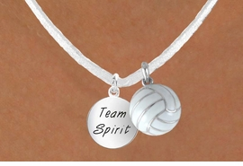 "<BR>            ""EXCLUSIVELY OURS""<bR>        AN ALLAN ROBIN DESIGN<Br>          LEAD & NICKEL FREE!!<Br>  W13956N - ""TEAM SPIRIT"" &<br>WHITE VOLLEYBALL NECKLACE<br>               AS LOW AS $4.50"