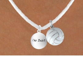 "<BR>            ""EXCLUSIVELY OURS""<bR>        AN ALLAN ROBIN DESIGN<Br>          LEAD & NICKEL FREE!!<Br>W13957N - ""THE BEST"" DISC &<br>WHITE VOLLEYBALL NECKLACE<br>               AS LOW AS $4.50"