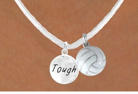 "<BR>            ""EXCLUSIVELY OURS""<bR>        AN ALLAN ROBIN DESIGN<Br>          LEAD & NICKEL FREE!!<Br>  W13958N - ""TOUGH"" DISC &<br>WHITE VOLLEYBALL NECKLACE<br>               AS LOW AS $4.50"