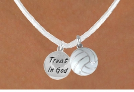 "<BR>            ""EXCLUSIVELY OURS""<bR>        AN ALLAN ROBIN DESIGN<Br>         LEAD & NICKEL FREE!!<Br>W13959N - ""TRUST IN GOD"" & <br>WHITE VOLLEYBALL NECKLACE<br>              AS LOW AS $4.50"