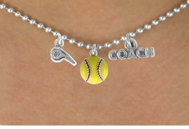 "<BR>         ""EXCLUSIVELY OURS""<bR>     AN ALLAN ROBIN DESIGN<Br>         LEAD & NICKEL FREE!!<Br>W14266N - SOFTBALL COACH<Br>& WHISTLE CHARM NECKLACE<br>              AS LOW AS $4.16"