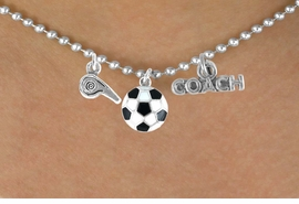 "<BR>        ""EXCLUSIVELY OURS""<bR>    AN ALLAN ROBIN DESIGN<Br>       LEAD & NICKEL FREE!!<Br>W14267N - SOCCER COACH &<Br> WHISTLE CHARM NECKLACE<br>             AS LOW AS $4.16"