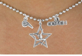 """<BR>            """"EXCLUSIVELY OURS""""<bR>        AN ALLAN ROBIN DESIGN<Br>            LEAD & NICKEL FREE!!<Br>W14268N - GYMNASTICS COACH<Br>   & WHISTLE CHARM NECKLACE<br>                 AS LOW AS $4.16"""