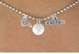 "<BR>           ""EXCLUSIVELY OURS""<bR>        AN ALLAN ROBIN DESIGN<Br>           LEAD & NICKEL FREE!!<Br>W14269N - VOLLEYBALL COACH<Br>   & WHISTLE CHARM NECKLACE<br>                AS LOW AS $4.16"