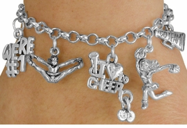 <Br>                EXCLUSIVELY OURS!!<Br>          AN ALLAN ROBIN DESIGN!!<Br>               LEAD & NICKEL FREE!!<Br>      W14356B - CHEER THEME FIVE<BR>CHARM BRACELET FROM $7.31 TO $16.25