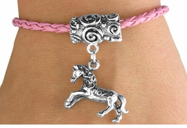 "<bR>                 EXCLUSIVELY OURS!!<Br>           AN ALLAN ROBIN DESIGN!!<Br>                LEAD & NICKEL FREE!!<Br>W14654B - ""I LOVE HORSES"" HORSE<Br> & PINK BRAIDED TOGGLE BRACELET<Br>               FROM $3.94 TO $8.75"