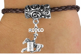 "<bR>                   EXCLUSIVELY OURS!!<Br>            AN ALLAN ROBIN DESIGN!!<Br>                 LEAD & NICKEL FREE!!<Br>W14658B - ""RODEO"" BARREL RACER<Br>BROWN BRAIDED TOGGLE BRACELET<Br>               FROM $3.94 TO $7.50"