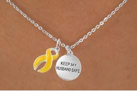 "<bR>                   EXCLUSIVELY OURS!!<Br>             AN ALLAN ROBIN DESIGN!!<BR>                  LEAD & NICKEL FREE!!<BR>W15830N - ""KEEP MY HUSBAND SAFE""<Br>       & YELLOW AWARENESS RIBBON<Br>      NECKLACE FROM $4.85 TO $8.50"