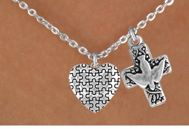 <bR>             EXCLUSIVELY OURS!!<Br>       AN ALLAN ROBIN DESIGN!!<BR>            LEAD & NICKEL FREE!!<BR>W16006N - DOVE & CROSS WITH<Br>      AUTISM AWARENESS HEART<Br>          NECKLACE ©2010 FROM<bR>                    $4.85 TO $8.50