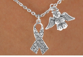 <bR>                EXCLUSIVELY OURS!!<Br>          AN ALLAN ROBIN DESIGN!!<BR>               LEAD & NICKEL FREE!!<BR>        W16008N - PRAYING ANGEL<Br>    & AUTISM AWARENESS RIBBON<Br>            NECKLACE ©2010 FROM<bR>                     $4.85 TO $8.50