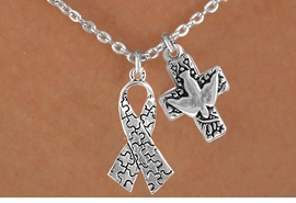 <bR>              EXCLUSIVELY OURS!!<Br>        AN ALLAN ROBIN DESIGN!!<BR>             LEAD & NICKEL FREE!!<BR>W16009N - DOVE & CROSS WITH<Br>     AUTISM AWARENESS RIBBON<Br>          NECKLACE ©2010 FROM<bR>                    $4.85 TO $8.50