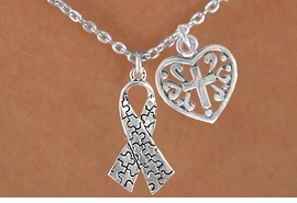 <bR>             EXCLUSIVELY OURS!!<Br>       AN ALLAN ROBIN DESIGN!!<BR>            LEAD & NICKEL FREE!!<BR>W16010N - HEART WITH CROSS &<Br>     AUTISM AWARENESS RIBBON<Br>          NECKLACE ©2010 FROM<bR>                    $4.85 TO $8.50