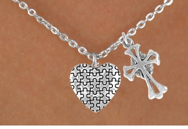 <bR>                EXCLUSIVELY OURS!!<Br>          AN ALLAN ROBIN DESIGN!!<BR>               LEAD & NICKEL FREE!!<BR>        W16012N - ELEGANT CROSS<Br>      & AUTISM AWARENESS HEART<Br>            NECKLACE ©2010 FROM<bR>                      $4.85 TO $8.50