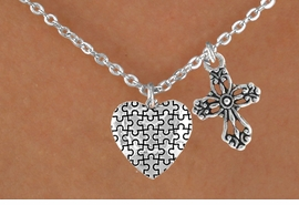 <bR>                EXCLUSIVELY OURS!!<Br>          AN ALLAN ROBIN DESIGN!!<BR>               LEAD & NICKEL FREE!!<BR>        W16017N - ELEGANT CROSS<Br>      & AUTISM AWARENESS HEART<Br>            NECKLACE ©2010 FROM<Br>                     $4.85 TO $8.50