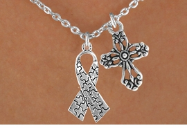 <bR>                EXCLUSIVELY OURS!!<Br>          AN ALLAN ROBIN DESIGN!!<BR>               LEAD & NICKEL FREE!!<BR>       W16020N - ELEGANT CROSS<Br>    & AUTISM AWARENESS RIBBON<Br>            NECKLACE ©2010 FROM<br>                      $4.85 TO $8.50