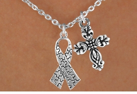 <bR>                EXCLUSIVELY OURS!!<Br>          AN ALLAN ROBIN DESIGN!!<BR>               LEAD & NICKEL FREE!!<BR>        W16022N - ELEGANT CROSS<Br>    & AUTISM AWARENESS RIBBON<Br>            NECKLACE ©2010 FROM<bR>                      $4.85 TO $8.50