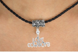 "<bR>           EXCLUSIVELY OURS!!<Br>     AN ALLAN ROBIN DESIGN!!<Br>          LEAD & NICKEL FREE!!<Br>W16144N - ""I LOVE COWBOYS""<Br>    BLACK BRAIDED NECKLACE<Br>         FROM $4.50 TO $10.00"