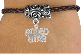 "<bR>                  EXCLUSIVELY OURS!!<Br>            AN ALLAN ROBIN DESIGN!!<Br>                 LEAD & NICKEL FREE!!<Br>W16146B - ""RODEO STAR"" CHARM &<Br> BROWN BRAIDED TOGGLE BRACELET<Br>                 FROM $3.94 TO $8.75"