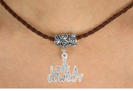 "<bR>           EXCLUSIVELY OURS!!<Br>     AN ALLAN ROBIN DESIGN!!<Br>          LEAD & NICKEL FREE!!<Br>W16148N - ""I LOVE A COWBOY""<Br>   BROWN BRAIDED NECKLACE<Br>         FROM $4.50 TO $10.00"