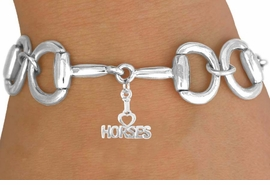 "<Br>              EXCLUSIVELY OURS!!<Br>        AN ALLAN ROBIN DESIGN!!<Br>             LEAD & NICKEL FREE!!<Br>  W16329B - BIT-LINK BRACELET<Br>& ""I LOVE HORSES"" CHARM FROM<Br>            $7.85 TO $17.50 ©2010"