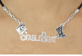 "<BR>                    EXCLUSIVELY OURS!!<Br>              AN ALLAN ROBIN DESIGN!!<bR>                   LEAD & NICKEL FREE!!<Br>   W16350N - WESTERN ""STABLE BRAT""<Br>  MARQUEE PENDANT & BLACK BRAIDED<Br>NECKLACE FROM $7.85 TO $17.50 ©2010"
